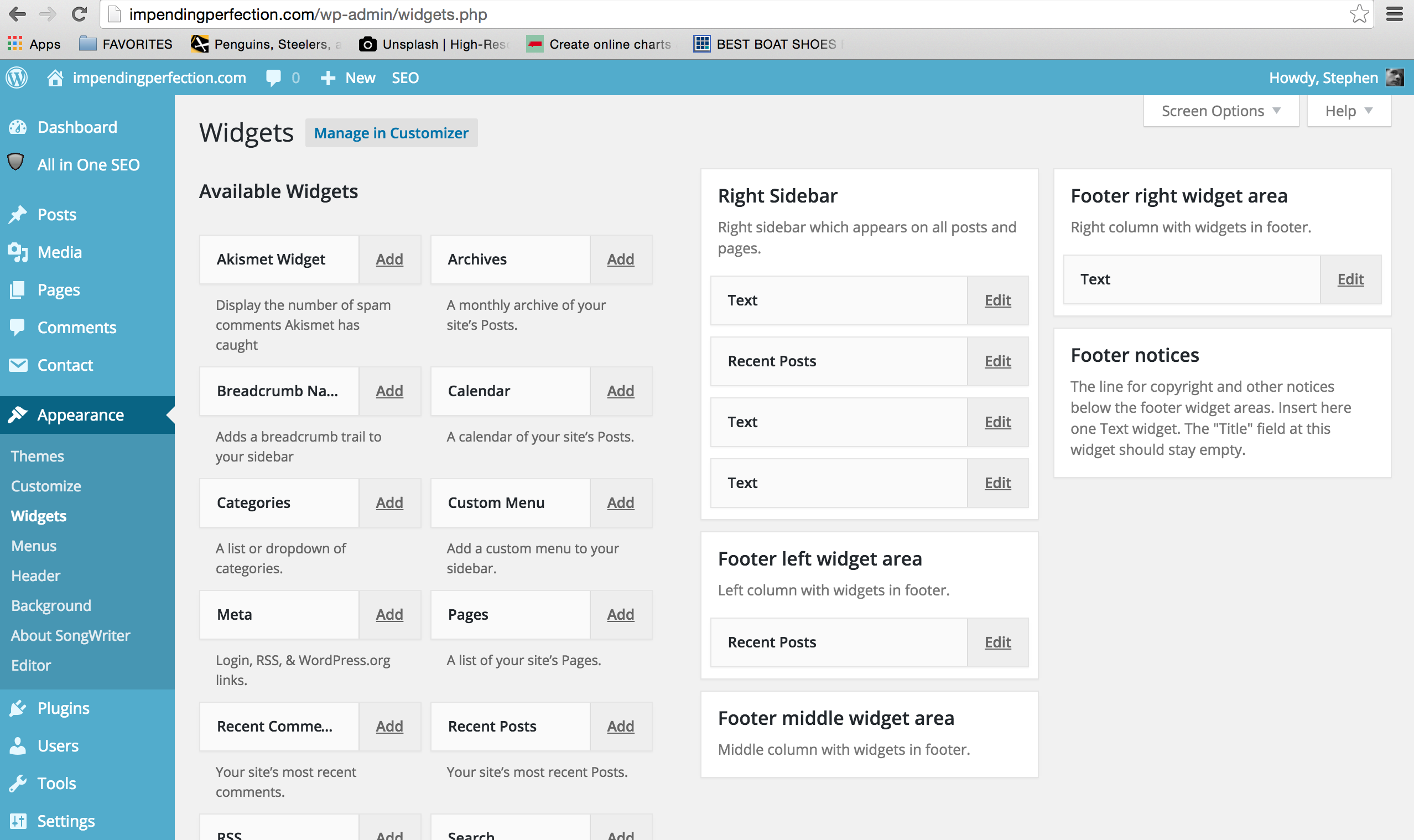 Wordpress sidebar widget