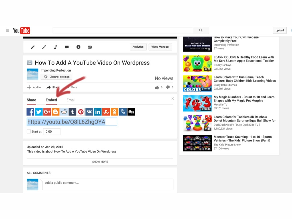 how to add a youtube video to wordpress